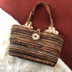 Wicker picnic cottage core style purse